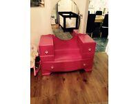 Solid Wood Pink Dressing Vanity Table