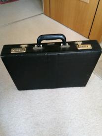 """Black leather brief, attaché case 18x12x3"""""""