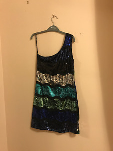 Blue and black sequined dress