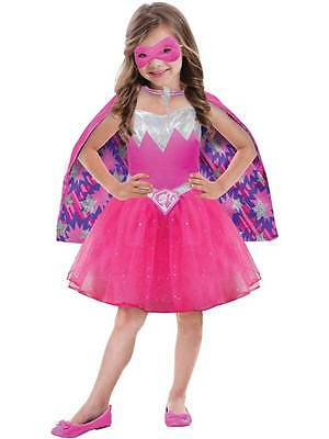 Child Barbie Power Princess Girls Kids Fancy Dress Pink Superhero Costume