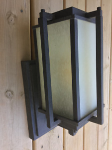 Metal and glass outdoor light fixture