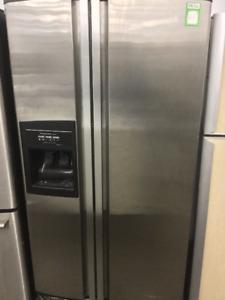 "36"" Kitchen Aid Stainless Steel Double Door Fridge"