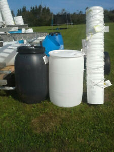 water and feed storage barrels and buckets