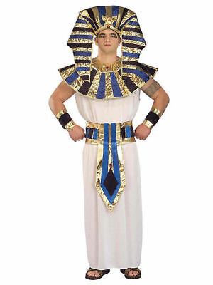 Super King Tut Gold White Men Adult Costume std xl - xxl Toga Pharaoh Hat Cuffs