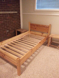 Pine single bed frame from JYSK