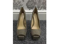 Zara grey/mushroom suede heels (size 6)