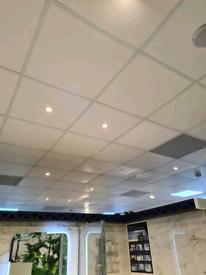 Suspending ceiling tiles and led light panels
