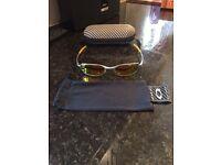 Oakley sunglasses. Silver frame, fire lens. Includes Oakley case
