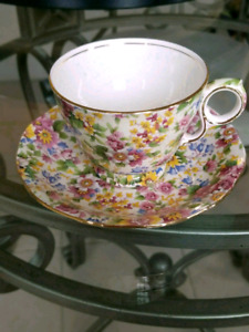 Vintage Royal Winton England Chintz Teacup And Saucer