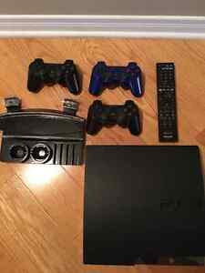 PS3 250gb console + 9 games + 3 controllers + remote