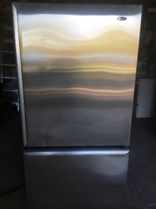 Stainless Steel Amana Refrigerator with Bottom Mount Freezer