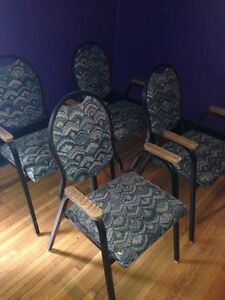 12 solid steel matching chairs