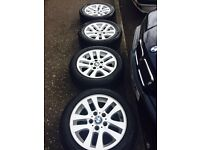 "Quick sale! 16"" genuine BMW alloys + good tyres"