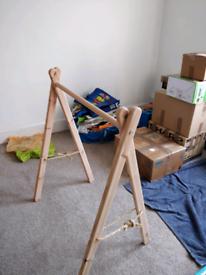 Wooden clothes rail