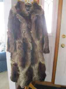 FOR SALE: Lady's real raccoon fur coat- size 11/12 (med) & hat
