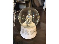 Beautiful little silver & white ballerina snow globe