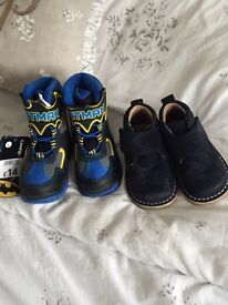 Two pair of size 5 infant boys shoes one pair brand new the other hardly worn
