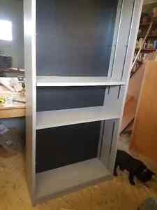 Office desk, file cabinet and shelving