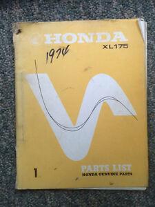1973 Honda XL175 Genuine Parts List Regina Regina Area image 1
