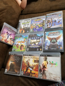 10 ps3 games, wand, camera, HDMI and Aux Cords