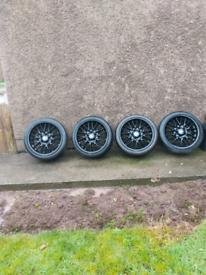 Complete set black 5 stud alloys