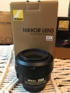 Nikon AF-S DX NIKKOR 35mm f/1.8G lens - mint condition - $160