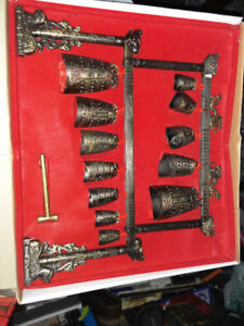 Chinese Bronze Bell Chimes Musical Instrument in box
