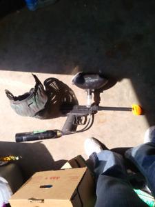 Paint ball gun and mask