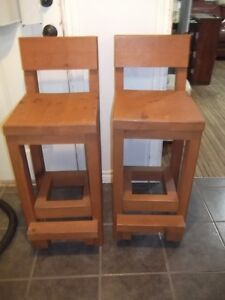 Pair of Rustic Pub Chairs