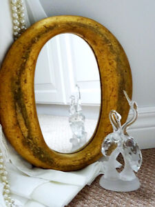 folk art FRENCH QUEBEC wall mirror CARVED WOOD small oval ANTIQU