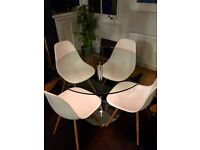 JOHN LEWIS ROUND GLASS TABLE WITH CHROME BASE