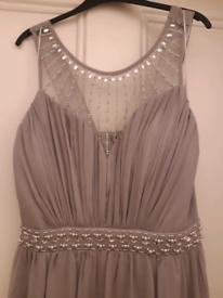 Silver grey chiffon maxi dress BNWT