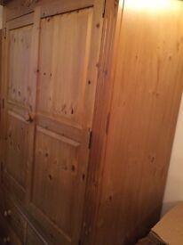 Solid Pine 2 Door 4 Drawer Wardrobe