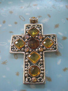 Pressed Metal Cross Necklace Pendant with Faux Amber Gem