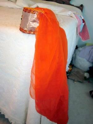 VINTAGE HALLOWEEN ORANGE PRINCESS COSTUME HAT WITH LONG VEIL COSTUME