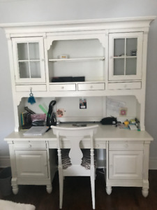White Desk, hutch and chair for sale.