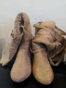 Beige thigh high boots size 7