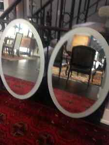 2 Oval Mirrors with Etched Border
