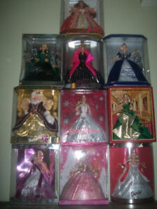 Lot of 10 Collectible Porcelain Barbie Dolls With Stands