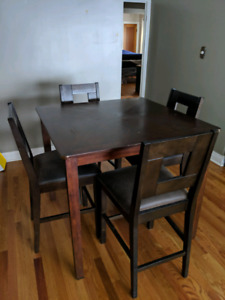 Wood bar height dining set