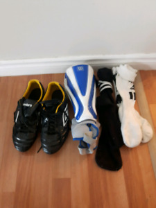Soccer cleats, shin guards and socks