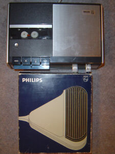 ANTIQUE PHILIPS OSTERREICH CASSETTE RECORDER + FOOT PEDAL, $290.