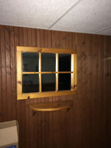 Beautiful pine mirror with shelf Windsor Region Ontario image 1
