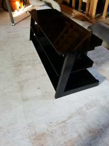 Black glass 3 tier entertainment console