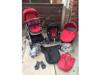 Oyster travel system with maxi Cosi car seat carrycot pram stroller trolly pushchair