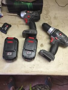 18volt porter cable drill and driver kit, 2 batteries