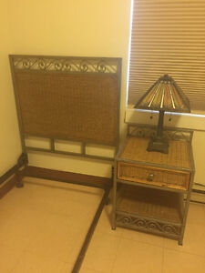 Pier One Twin Bed Headboard, Frame and Matching Night Table