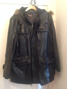 Danier Black Leather Coat Jacket Men's XXL - GUC