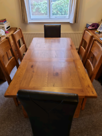 Solid Oak Extending Dining Table and Chairs