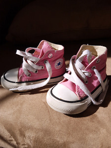 Infant/toddler size3  pink high top converse shoes